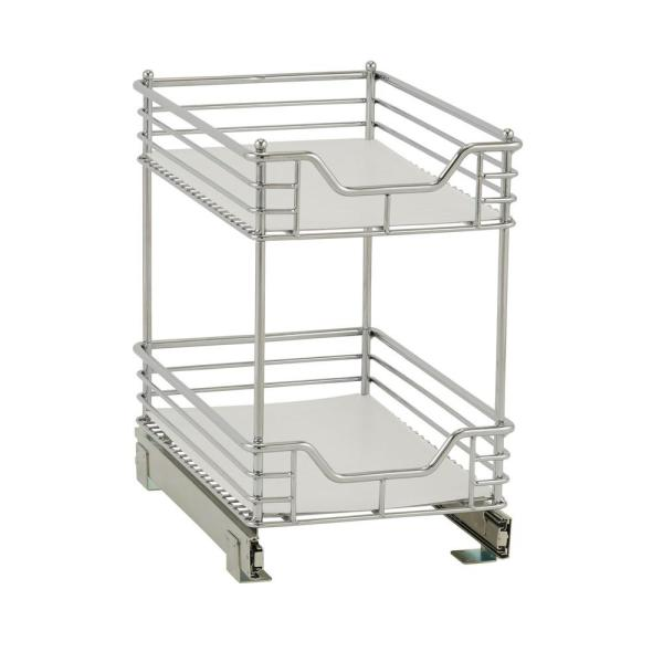 11.5 in. Dual Slide 2-Tier Standard Organizer in Chrome with White Liner