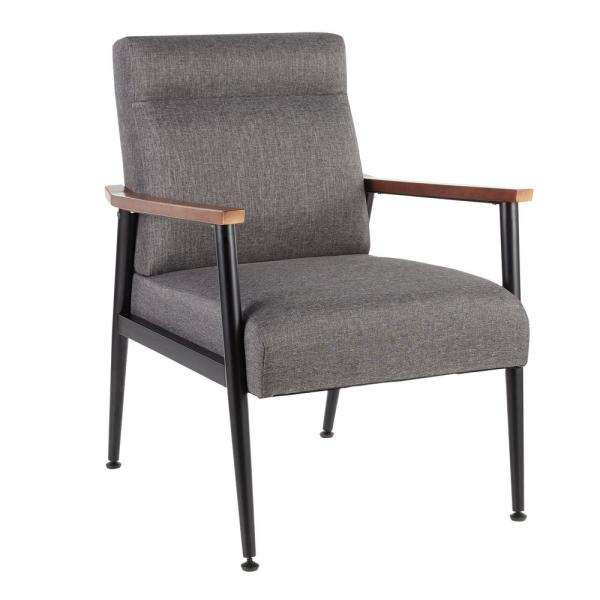 Lumisource Nigiri Contemporary Dark Grey Upholstered Arm Chair