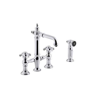 Artifacts 2-Handle Bridge Kitchen Faucet with Prong handles and Side Spray in Polished Chrome
