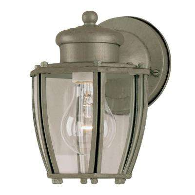 1-Light Antique Silver Steel Exterior Wall Lantern with Clear Curved Glass Panels