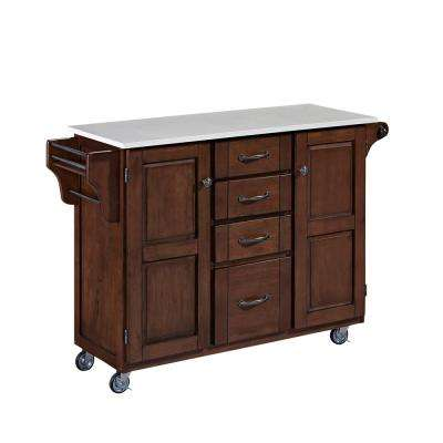 Create-a-Cart Cherry Kitchen Cart With Quartz Top