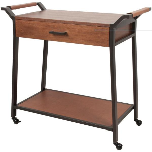 Silverwood Furniture Reimagined Cohen Brown and Black Kitchen Cart with Drawer