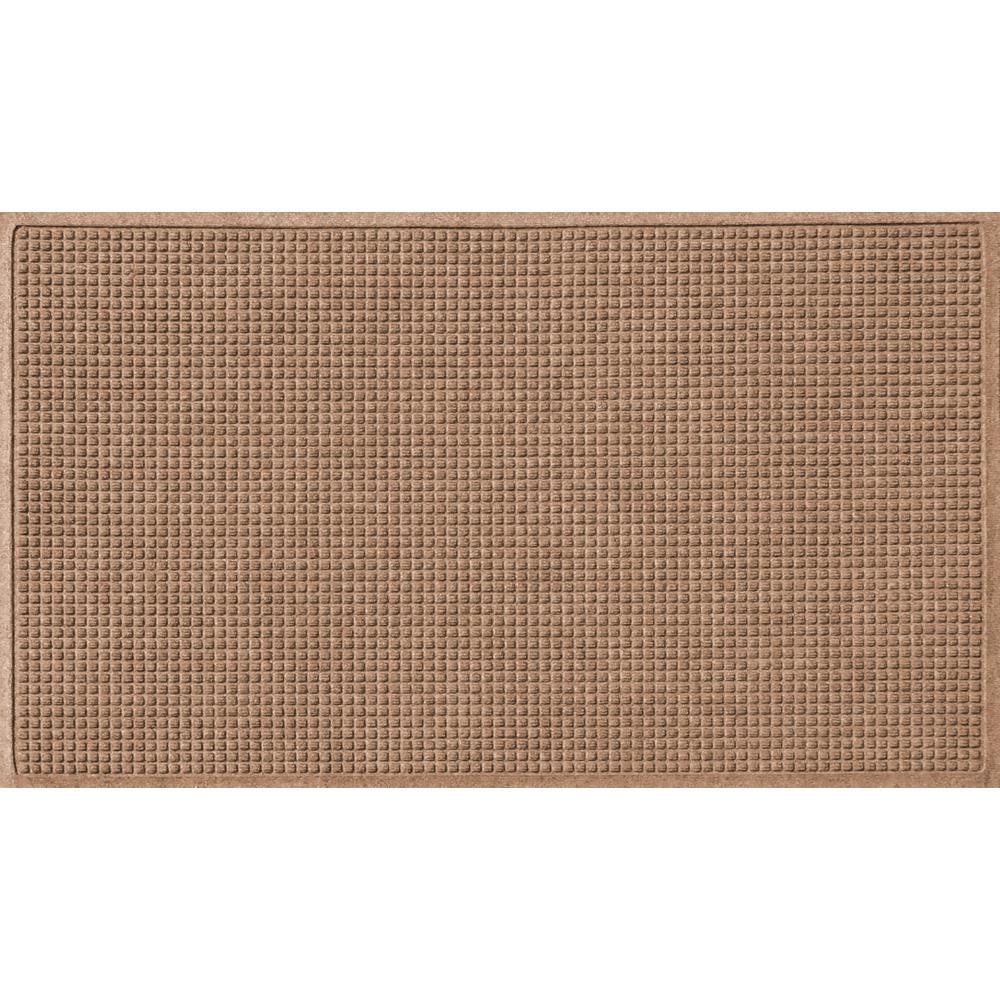 Aqua Shield Medium Brown 36 in. x 60 in. Squares Polypropylene Door Mat