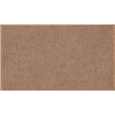 Medium Brown 36 in. x 84 in. Squares Polypropylene Door Mat