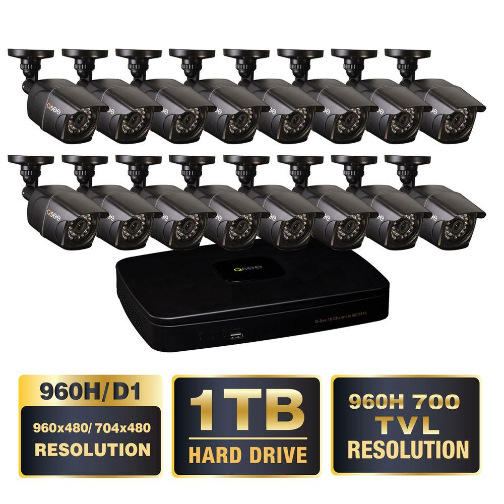 Q-SEE Premium Series 16-Ch. 960H 1TB Video Surveillance System with (16) 900TVL Cameras, 100 ft. Night Vision in Ambient Light