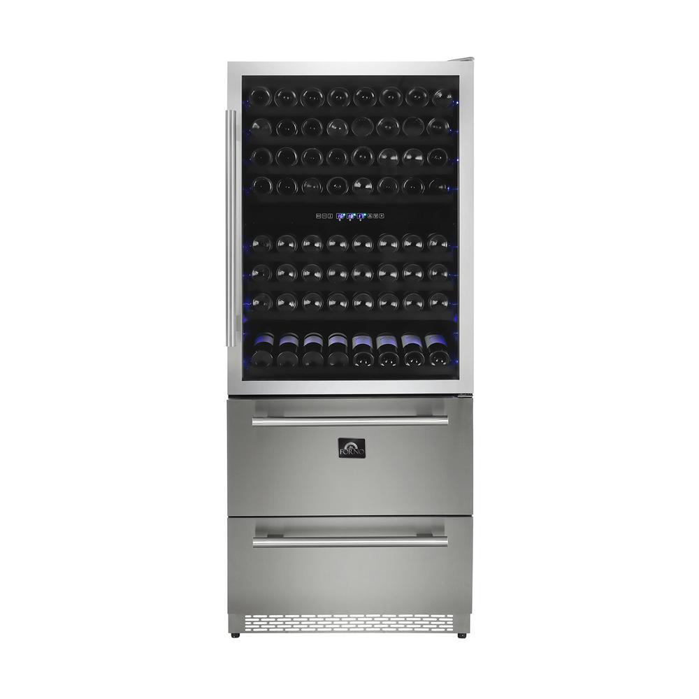 Capraia 30 in. 120-Bottle Dual Zone Wine Cooler with Compressor in
