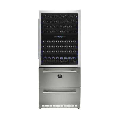 Capraia 30 in. 120-Bottle Dual Zone Wine Cooler with Compressor in Stainless Steel
