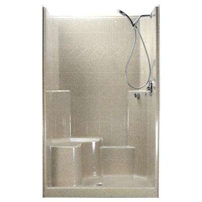 48 in. x 37 in. x 80 in. 1-Piece Low Threshold Shower Stall in Beach, Shower Kit, Left Hand Side Seat, Center Drain