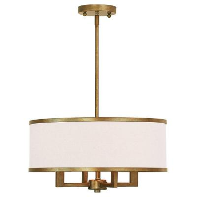 Park 4-Light Antique Gold Leaf Chandelier with Hand Crafted Ash-Gray Linen Fabric Hardback Shade