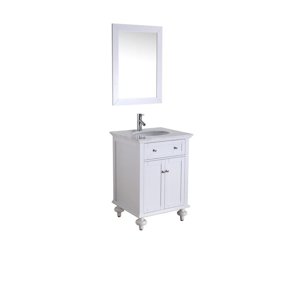 Virtu USA Hailey 24 in. Single Basin Vanity in White with Marble Vanity Top in Italian Carrara White -DISCONTINUED