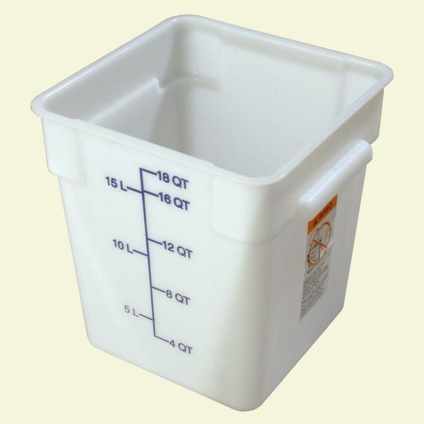 Carlisle 18 qt. Polyethylene Square Food Storage Container in White (Case