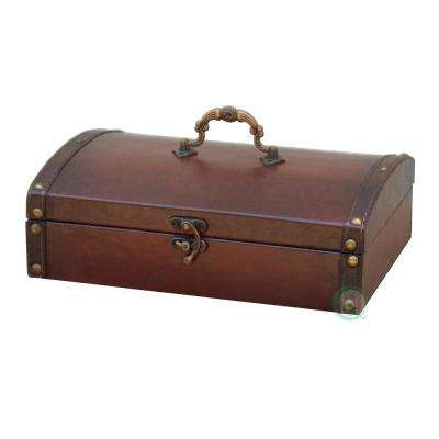 9.8 in. x 7 in. x 3 in. Wood Faux Leather Small Vintage Style Faux Leather Treasure Chest