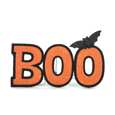 30.5 in. Halloween Lighted BOO Sign with Bat