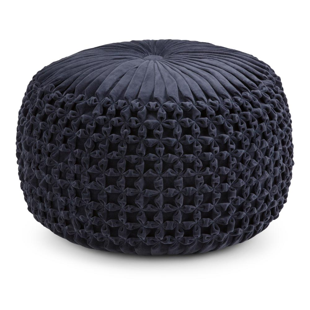 Simpli Home Renee Navy Round Pouf-AXCPF-17 - The Home Depot