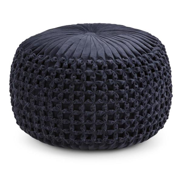 Simpli Home Renee Transitional Round Pouf in Navy Velvet AXCPF-24