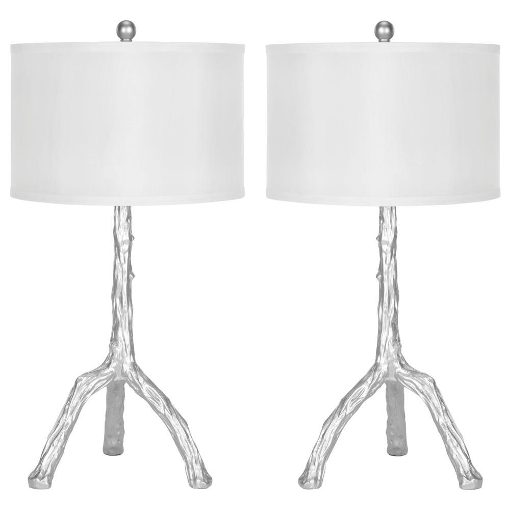 Safavieh Silver Branch 27 5 In Table Lamp With White Shade Set Of 2
