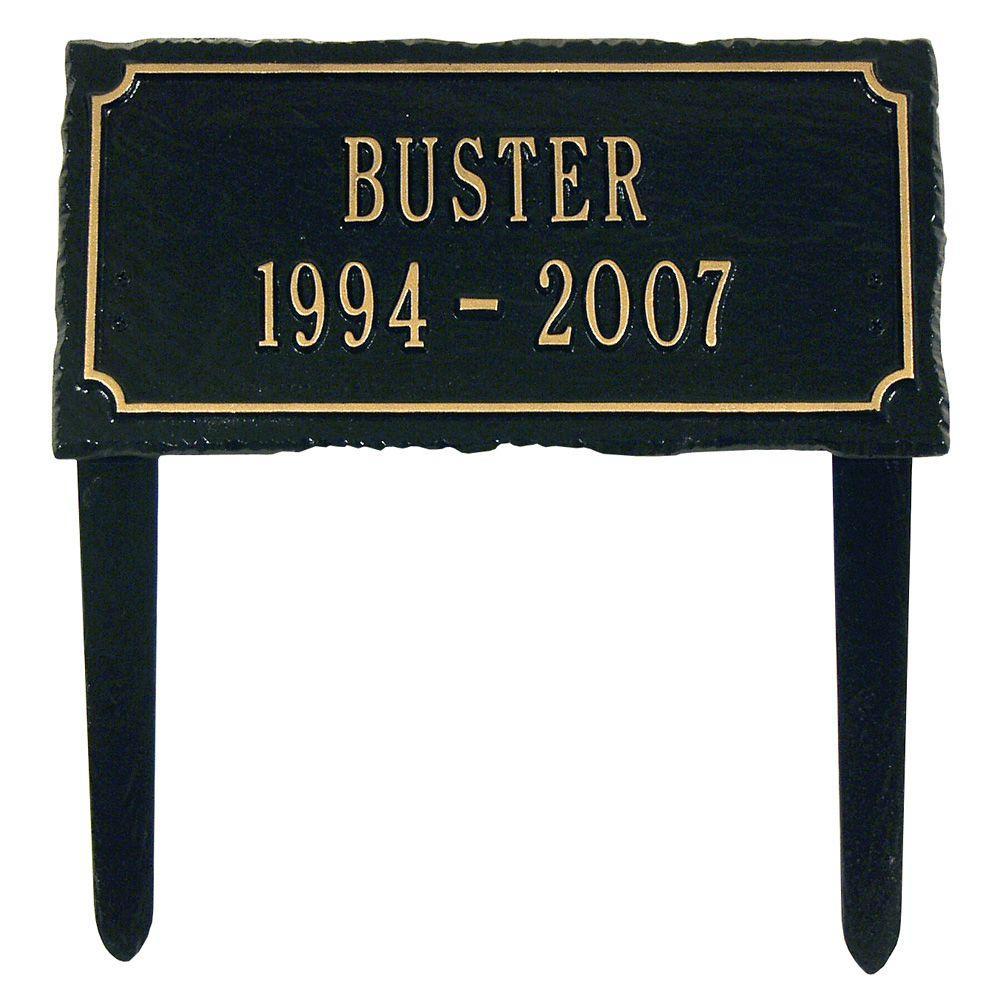Slate Pet Black/Gold Two Line Lawn Memorial Plaque