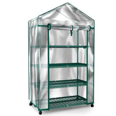 27.1 in. W x 19.3 in. D x 63.3 in. H 4-Tier Mini Greenhouse