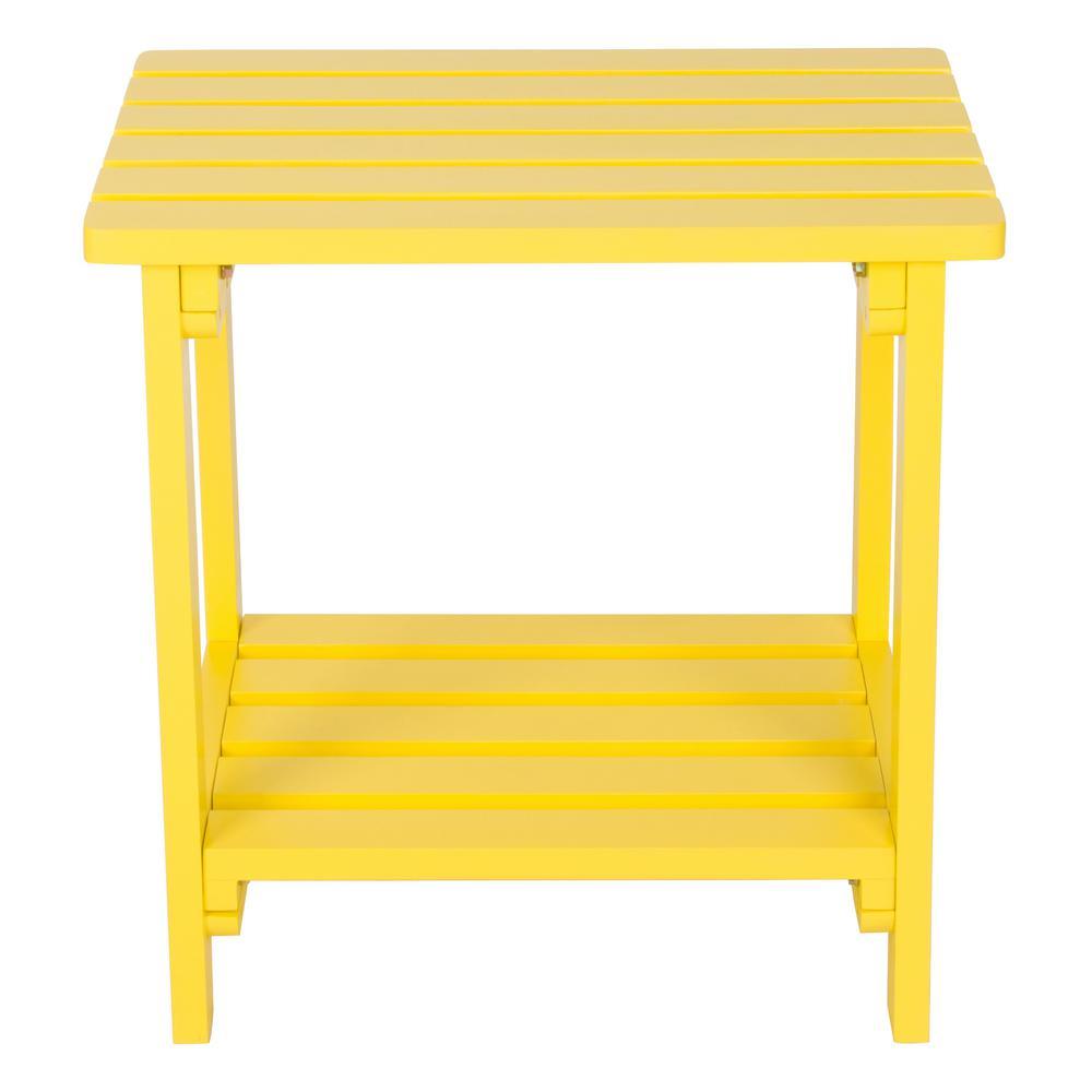 Lemon Yellow Rectangular Wood Side Table