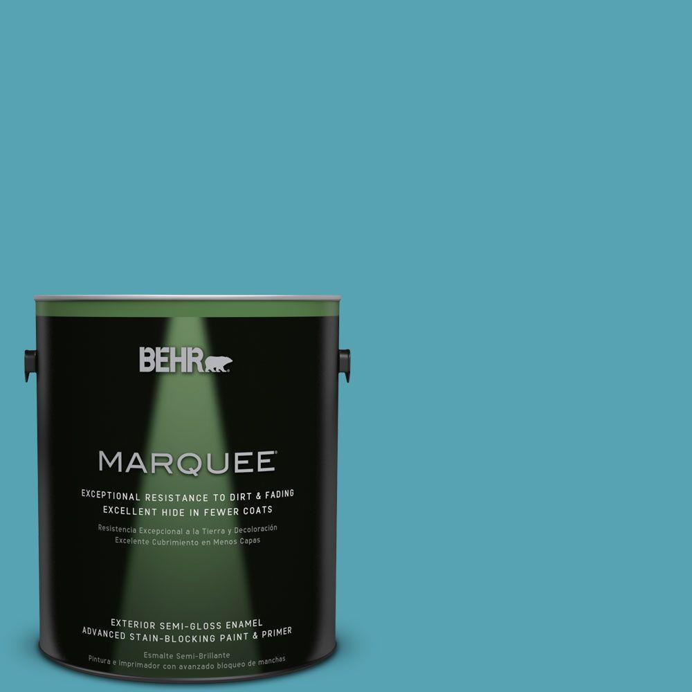 1-gal. #M470-5 Explorer Blue Semi-Gloss Enamel Exterior Paint