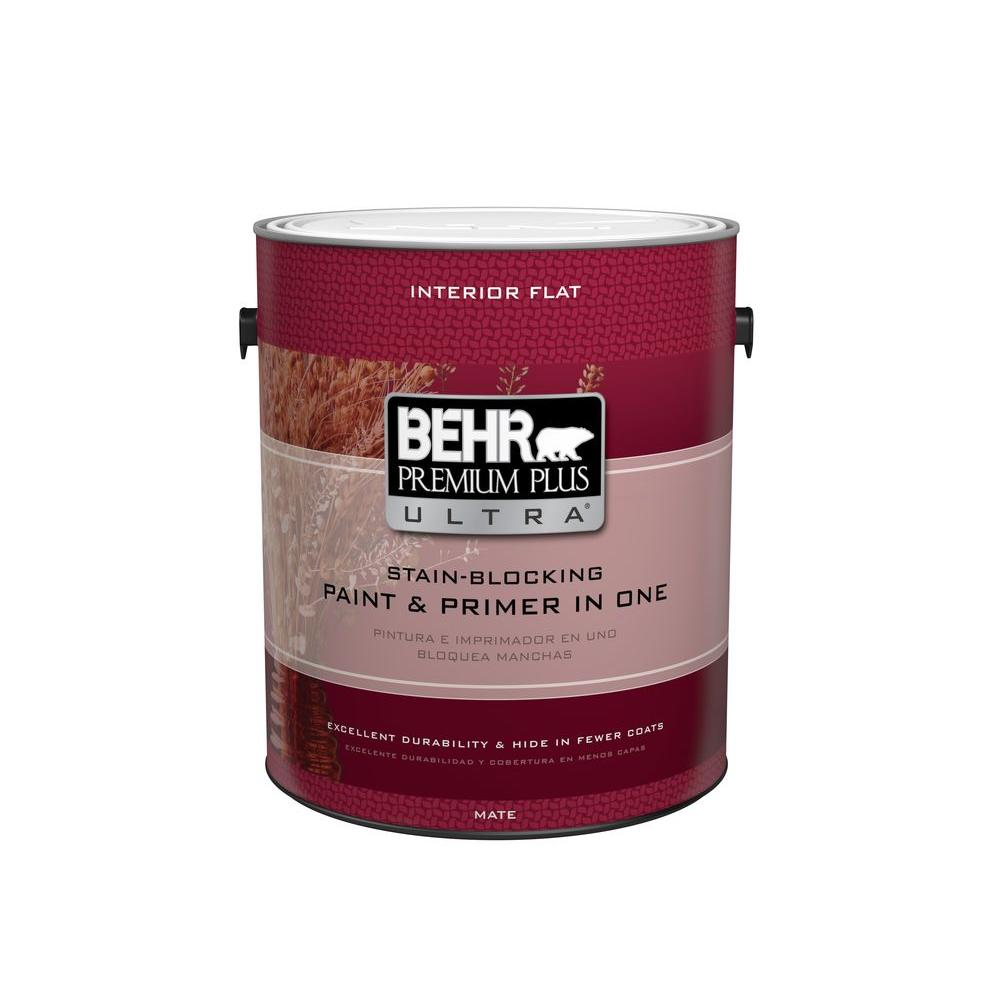 Behr Premium Plus Ultra 1 Qt Deep Base Flat Matte Interior Paint And Primer In One 115304 The