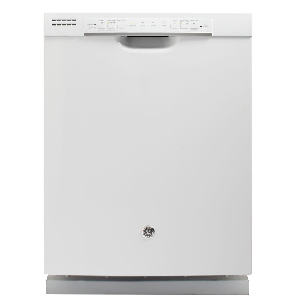 GE 24 in. Front Control Dishwasher in White with Steam PreWash