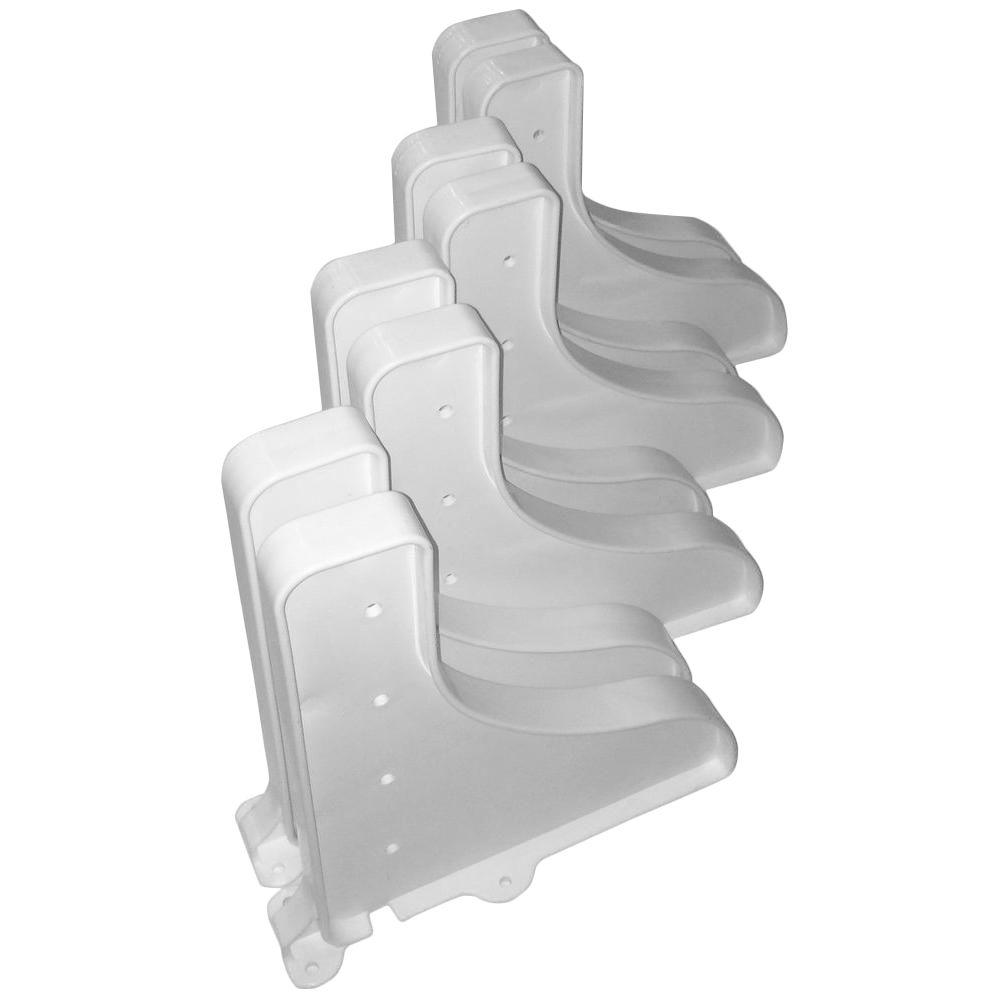 12 in. x 10 in. White End Shelve Brackets (Set of