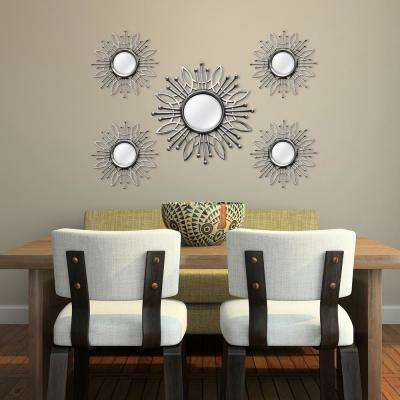 5-Piece Silver Burst Wall Mirror