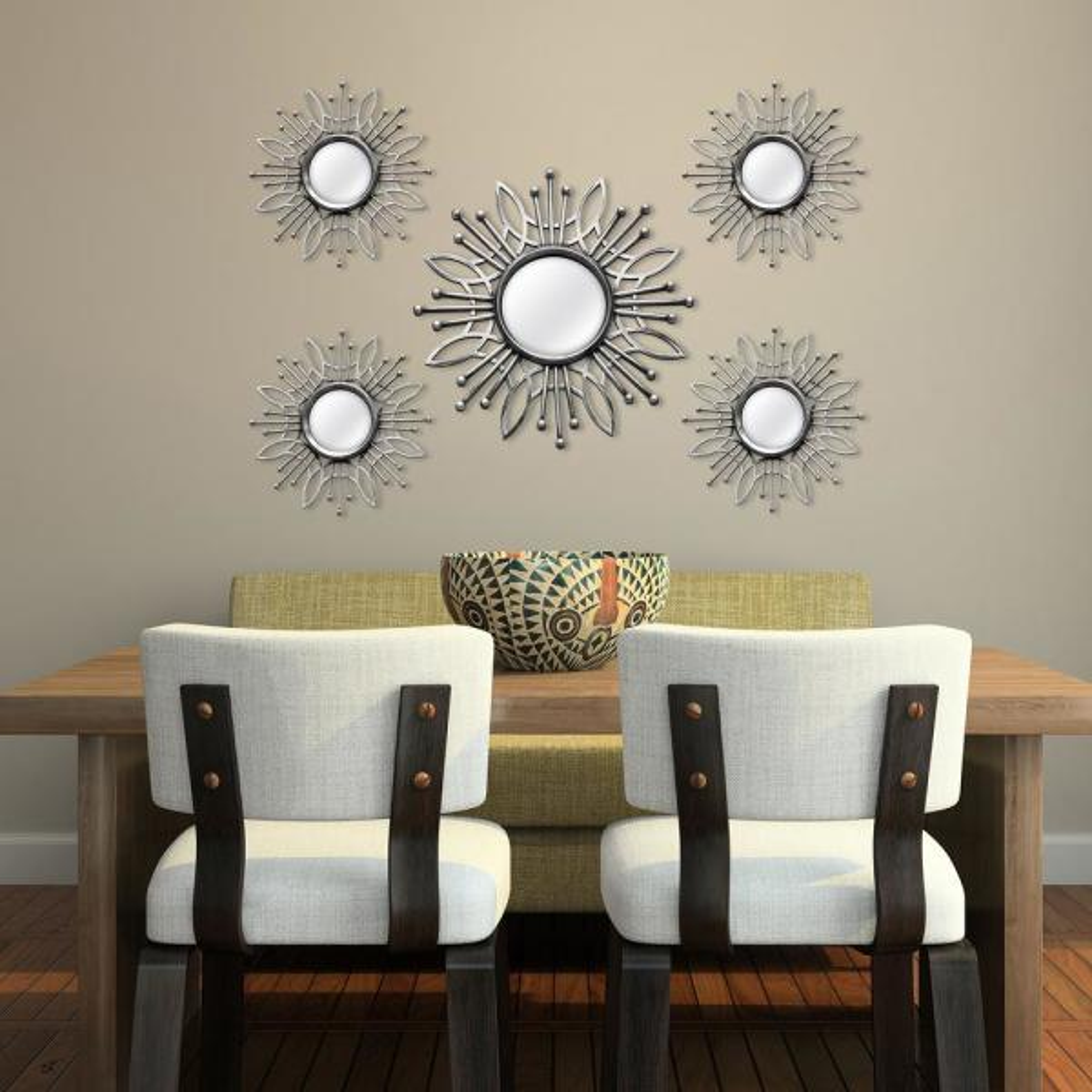 5-Piece Silver Burst Wall Mirror