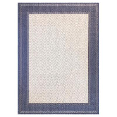 Border Navy/Beige 5 ft. x 7 ft. Indoor/Outdoor Area Rug