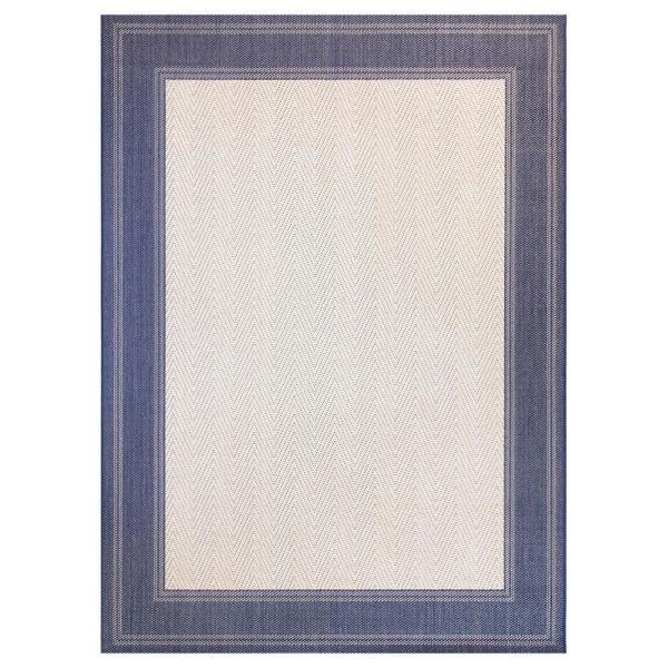 Border Navy/Beige 7 ft. x 10 ft. Indoor/Outdoor Area Rug