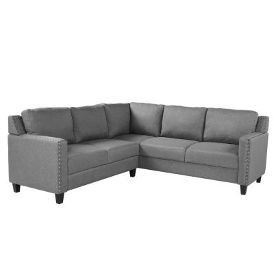 L-Shape Sofa 2 Piece Grey Fabric Right Facing Sectionals with Naihead