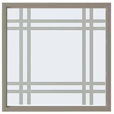 23.5 in. x 23.5 in. Prairie Decorative Glass Picture Vinyl Window - Driftwood