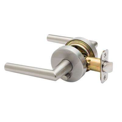 Modern Satin Stainless Pushbutton Privacy Bed/Bath Door Lever