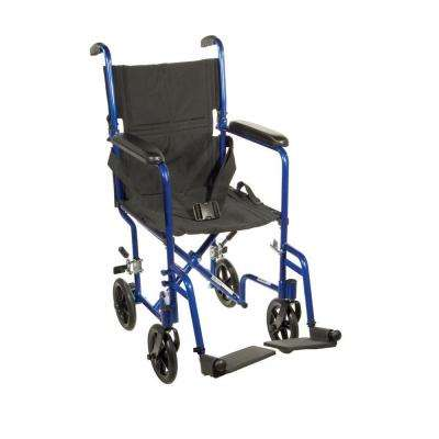 Lightweight Transport Wheelchair in Blue