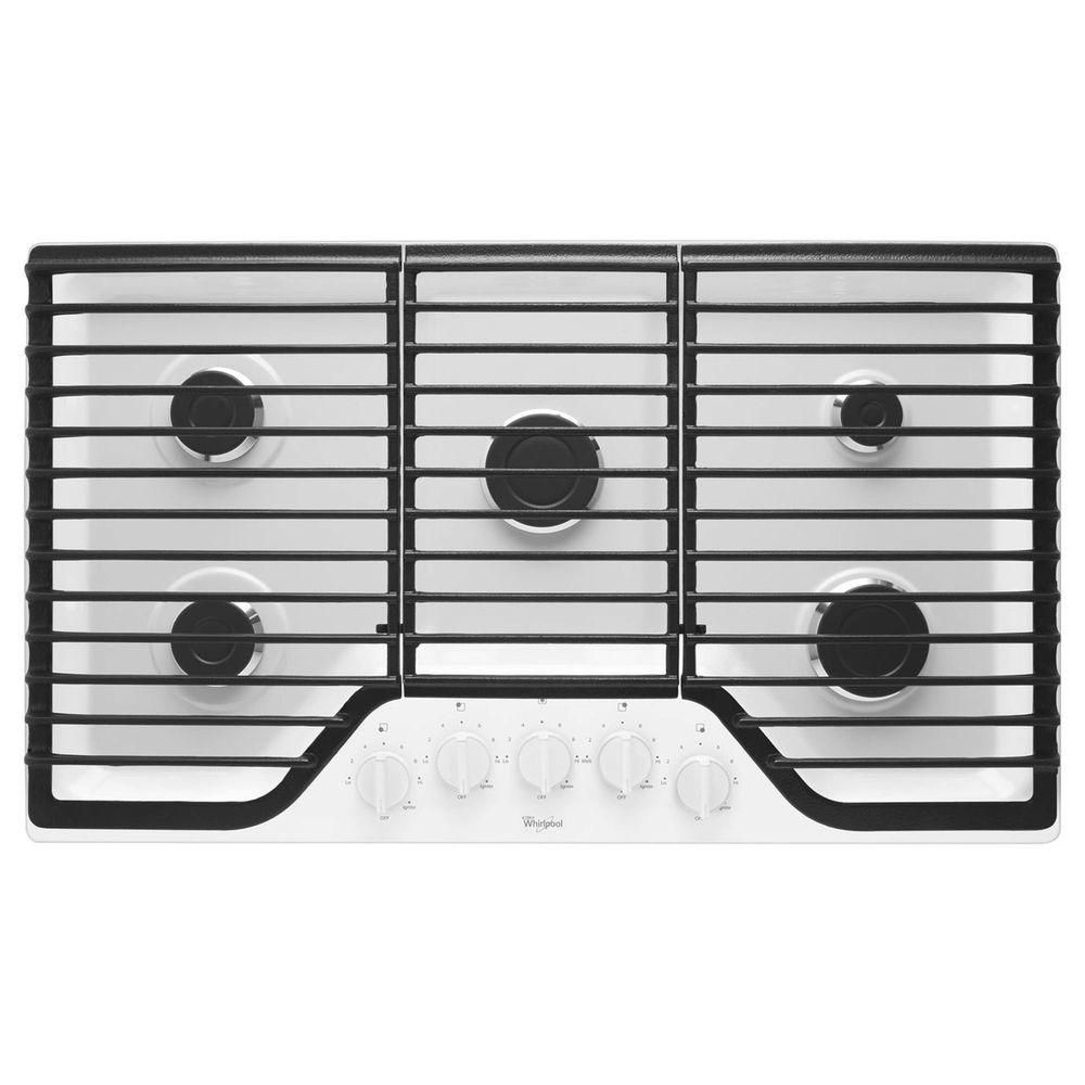 gas cooktop in white with 5 burners including 15000btu speedheat the home depot