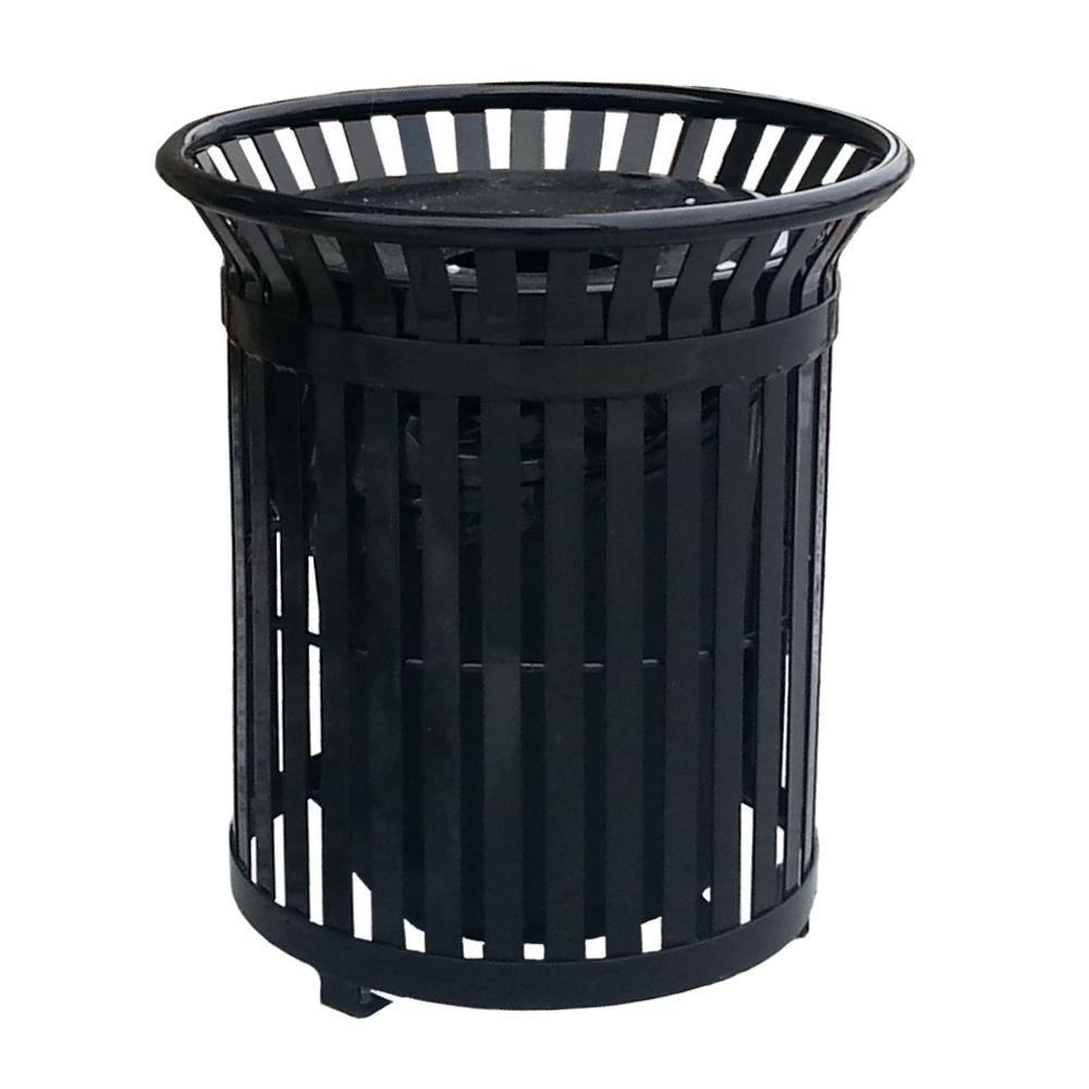 Paris 34 Gal. Black Steel Outdoor Trash Can with Steel Lid ...