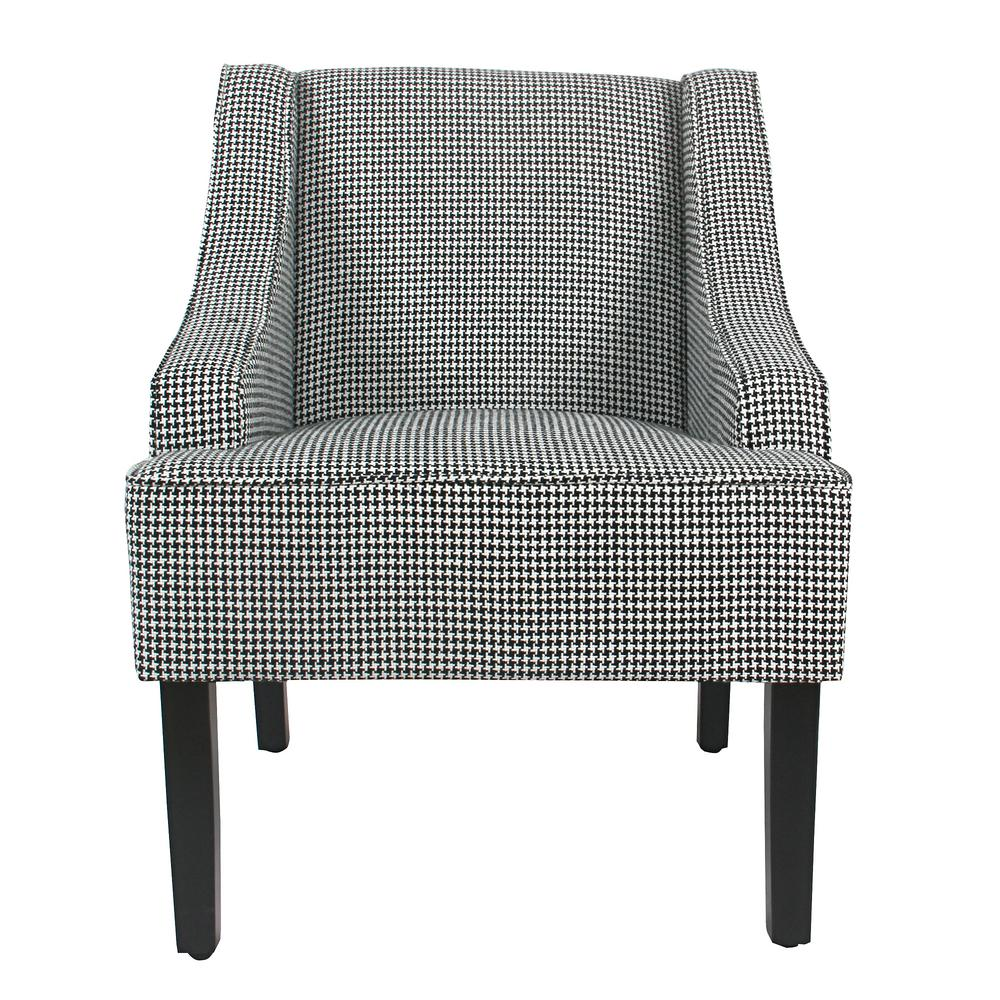 Ebony Houndstooth Black Classic Swoop Accent Chair