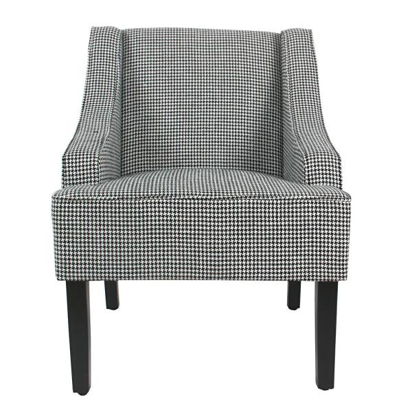 Homepop Ebony Houndstooth Black Classic Swoop Accent Chair K6499-F2238