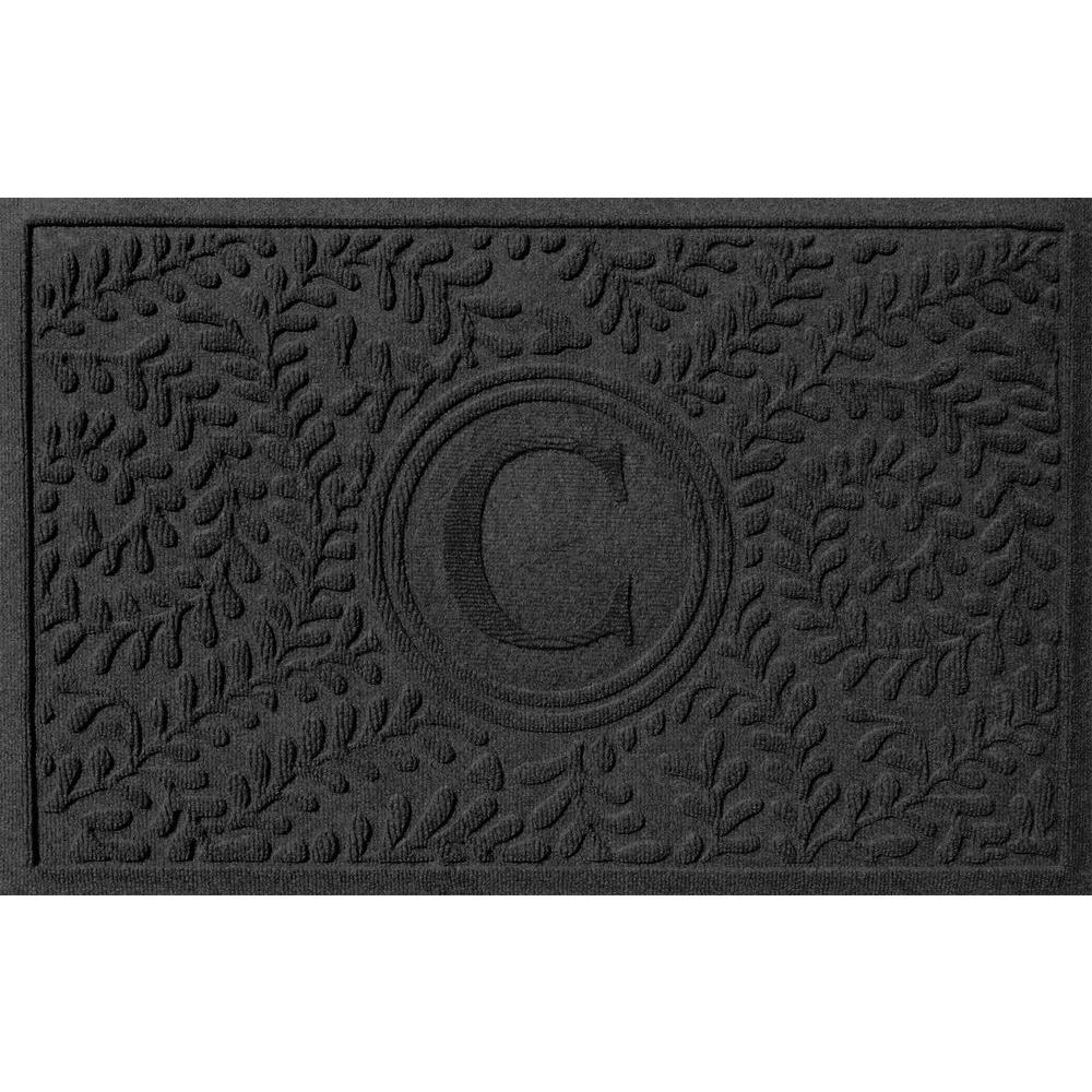 Bungalow Flooring Boxwood Charcoal 24 in. x 36 in. Monogram C Door Mat