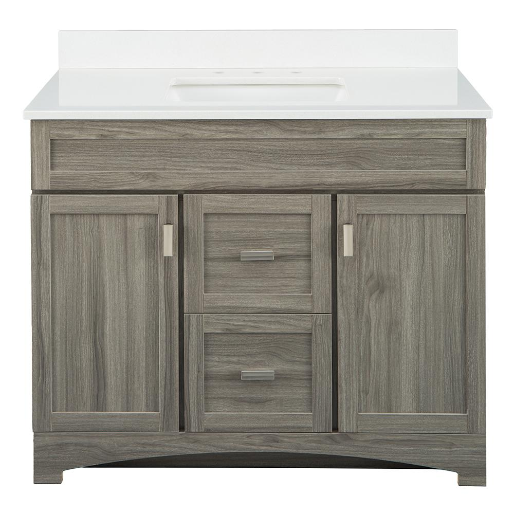 Home Decorators Collection Carolo 43 in. W x 21.75 in. D Vanity Cabinet in Grey Oak with Engineered Stone Vanity Top in White with White Sink