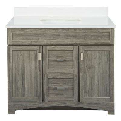 Carolo 42 in. W x 21.75 in. D Vanity Cabinet in Grey Oak with Engineered Stone Vanity Top in White with White Sink
