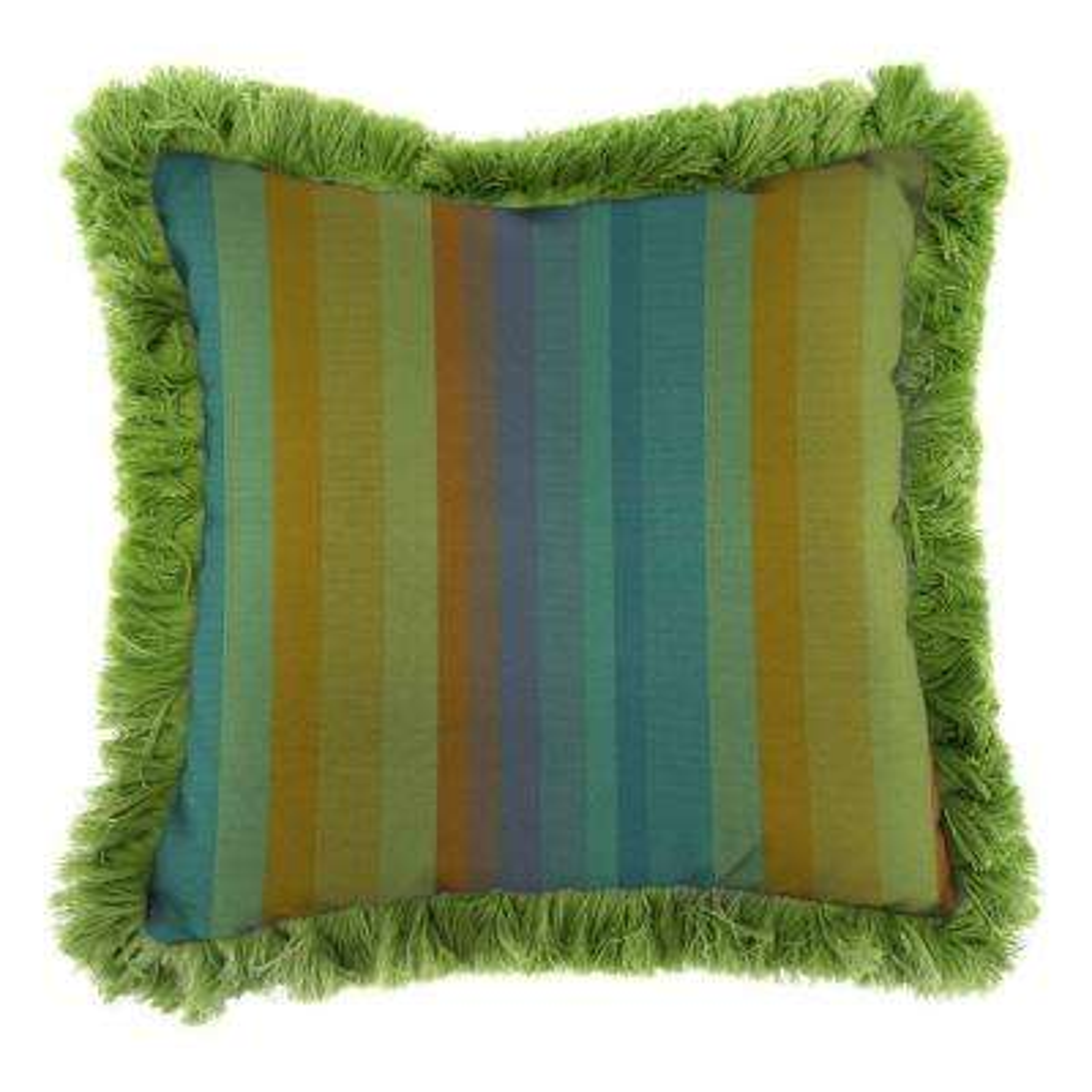 Sunbrella Astoria Lagoon Square Outdoor Throw Pillow with Gingko Fringe
