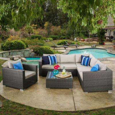 Santa Rosa 7-Piece Wicker Outdoor Sectional with Sunbrella Gray Cushions