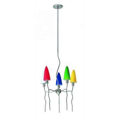 5-Light Polished Steel Chandelier with Multi-Colored Glass Shades