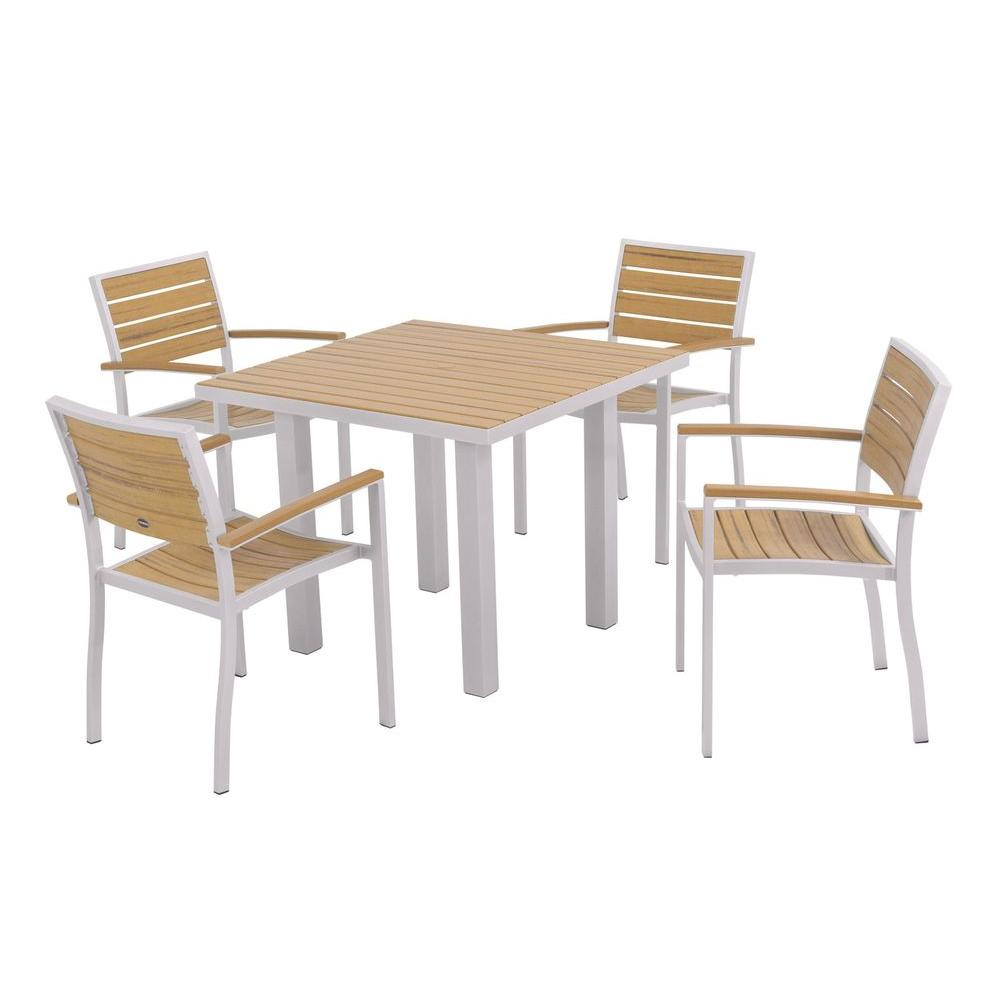 POLYWOOD Euro Textured Silver 5-Piece Plastic Outdoor Patio Dining Set with Plastique Natural Teak Slats