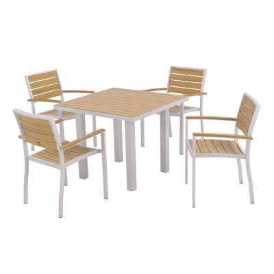 Euro Textured Silver 5-Piece Plastic Outdoor Patio Dining Set with Plastique Natural Teak Slats