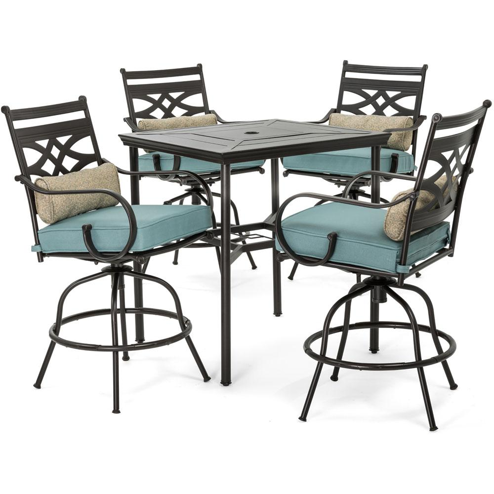 Hanover Montclair 5-Piece Steel Outdoor Bar Height Dining Set with Ocean Blue Cushions, Swivel Chairs and a 33 in. Dining Table