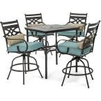 Montclair 5-Piece Steel Outdoor Bar Height Dining Set with Ocean Blue Cushions, Swivel Chairs and a 33 in. Dining Table