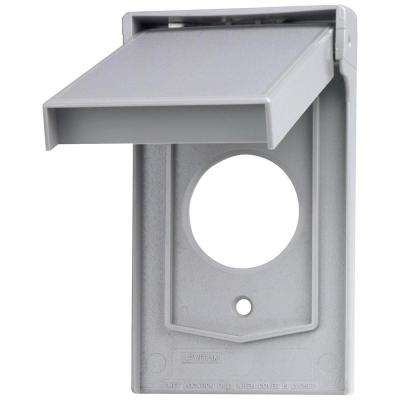 1-Gang Weather Resistant Single Receptacle Device Mount Wallplate with Vertical Self Closing Lid, Gray